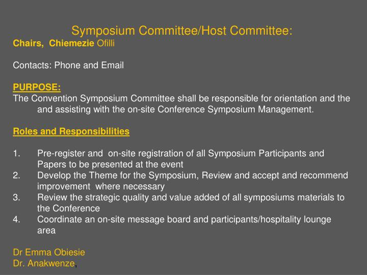 Symposium Committee/Host Committee: