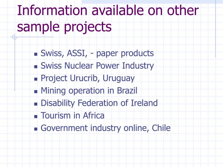 Information available on other sample projects