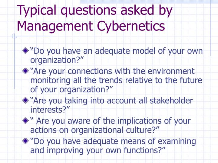 Typical questions asked by Management Cybernetics