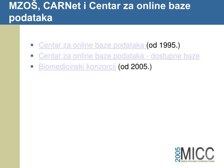 MZOŠ, CARNet i Centar za online baze podataka