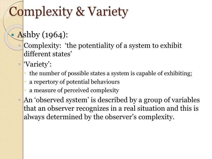 Complexity & Variety