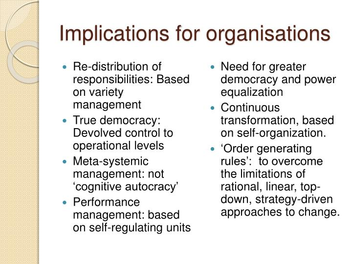 Implications for organisations