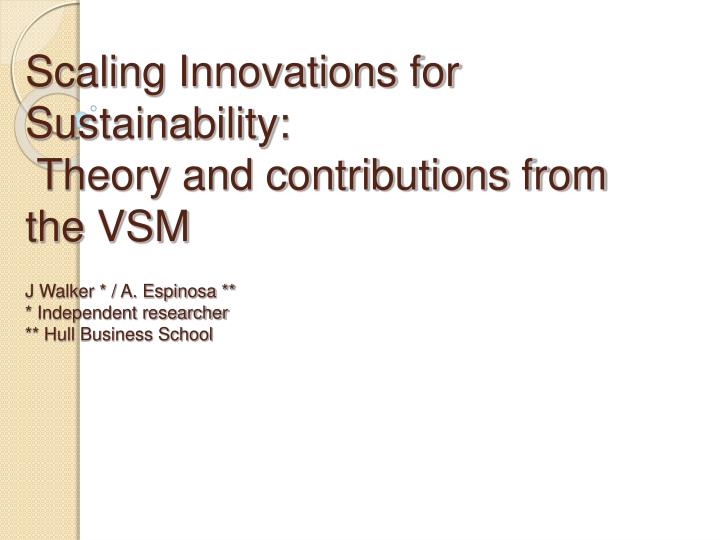 Scaling Innovations for Sustainability: