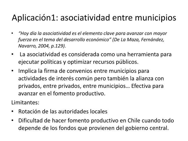 Aplicación1: asociatividad entre municipios
