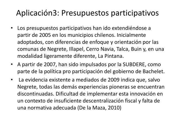 Aplicación3: Presupuestos participativos