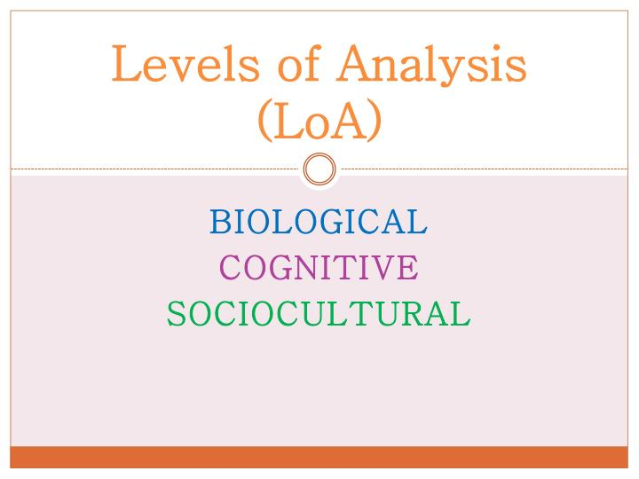 Levels of Analysis (