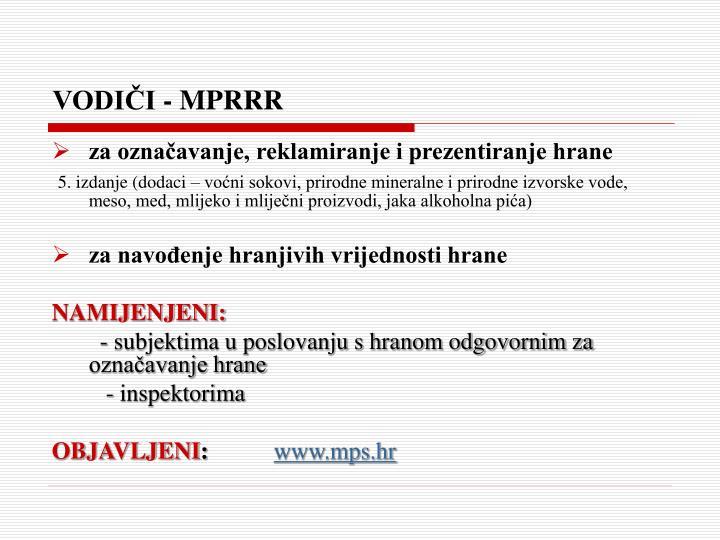 VODIČI - MPRRR