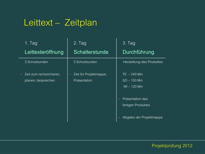 Leittext –  Zeitplan