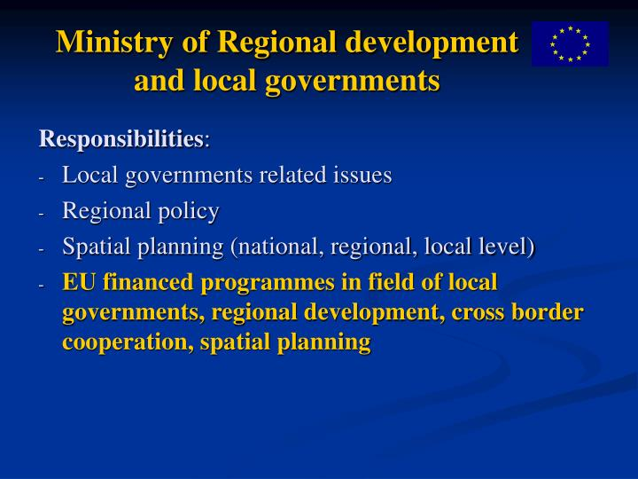 Ministry of regional development and local governments