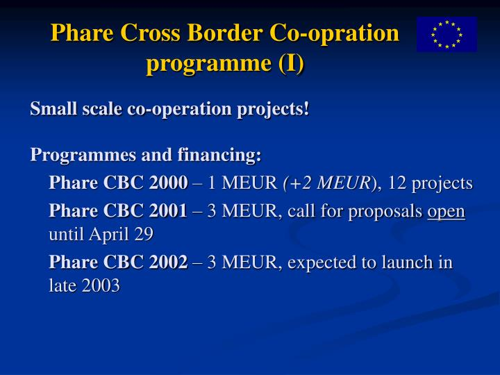 Phare cross border co opration programme i