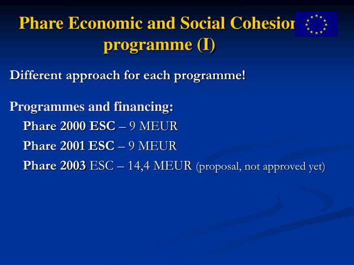 Phare Economic and Social Cohesion programme (I)