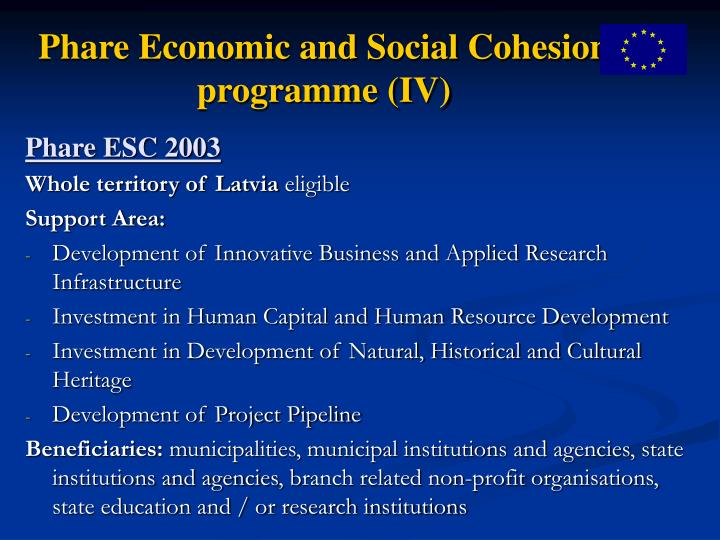 Phare Economic and Social Cohesion programme (IV)