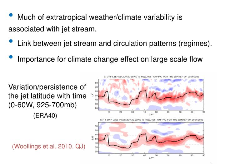 Much of extratropical weather/climate variability is associated with jet stream.