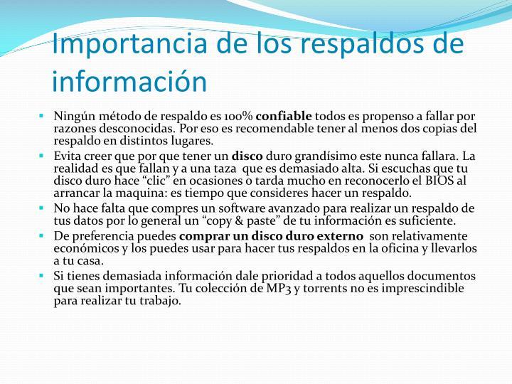 Importancia de los respaldos de información