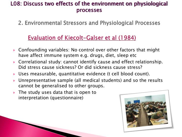 L08: Discuss two effects of the environment on physiological processes
