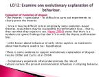 lo12 examine one evolutionary explanation of behaviour8