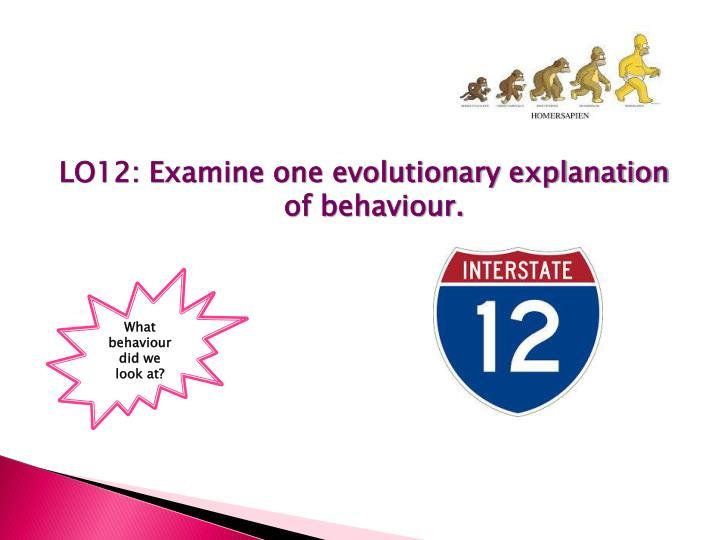 LO12: Examine one evolutionary explanation of behaviour.
