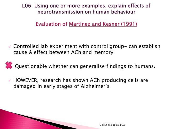 L06: Using one or more examples, explain effects of neurotransmission on human behaviour