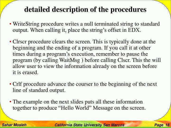 detailed description of the procedures