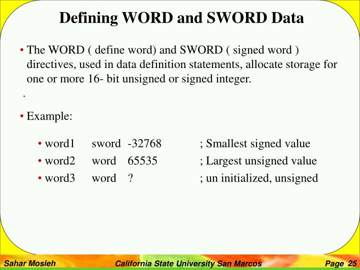 Defining WORD and SWORD Data