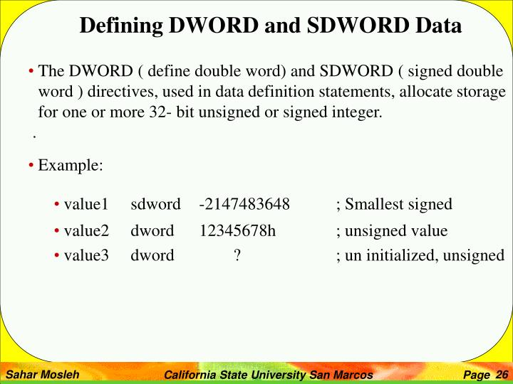 Defining DWORD and SDWORD Data