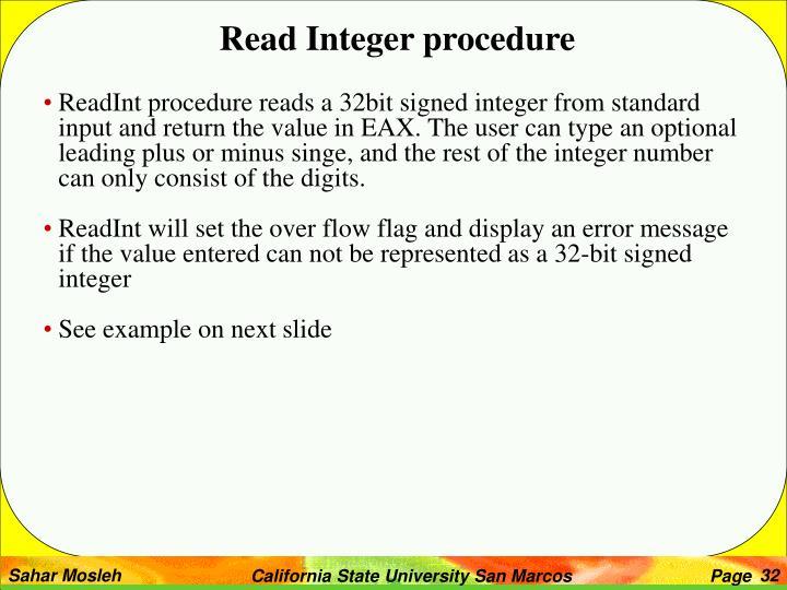 Read Integer procedure