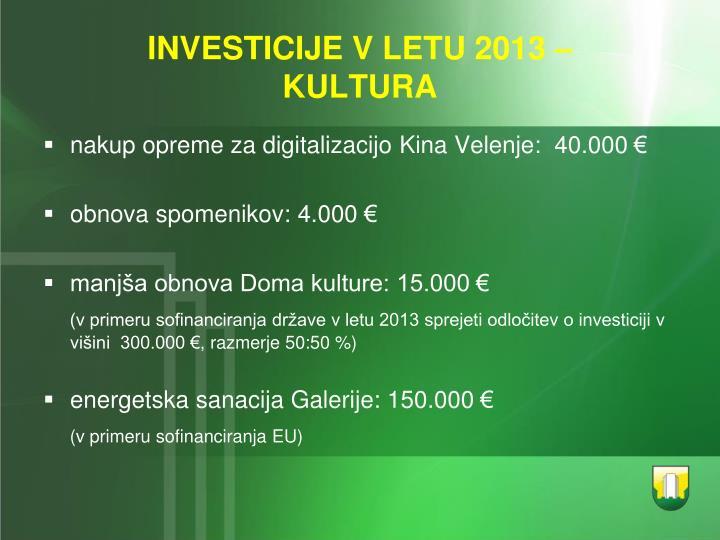 INVESTICIJE V LETU 2013 –