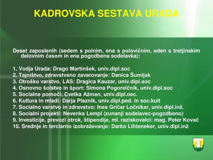 KADROVSKA SESTAVA URADA