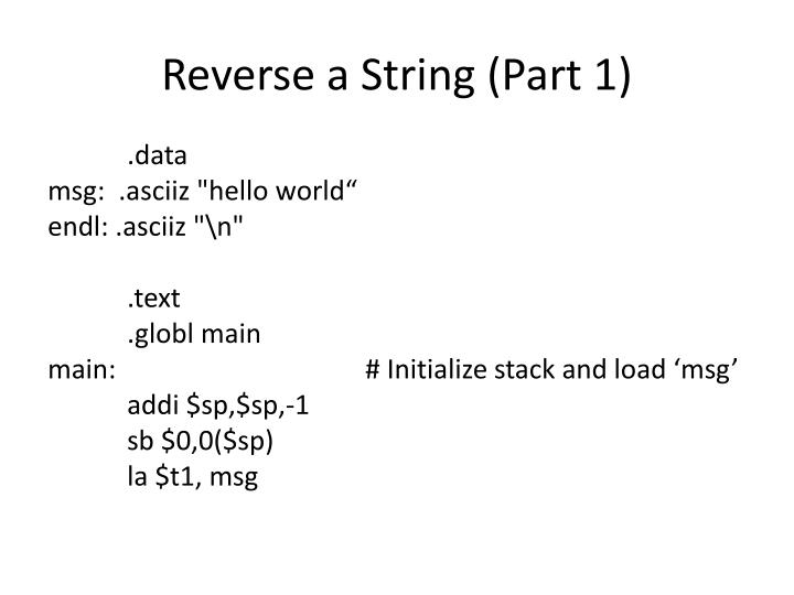 Reverse a String (Part 1)