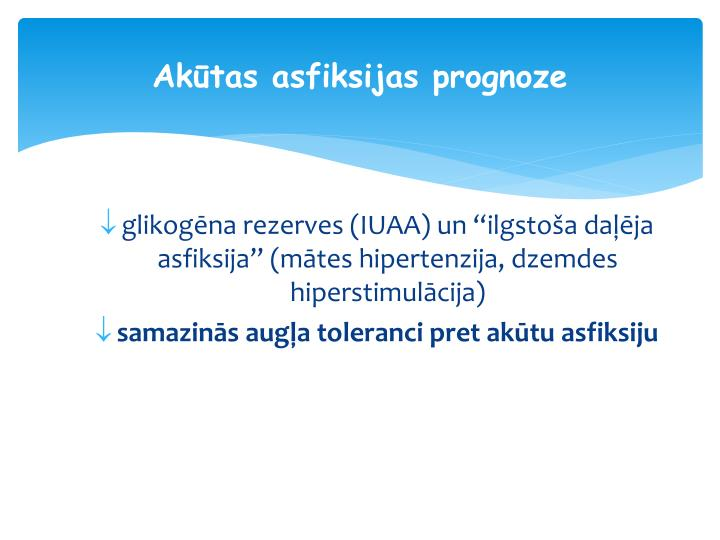 Akūtas asfiksijas prognoze