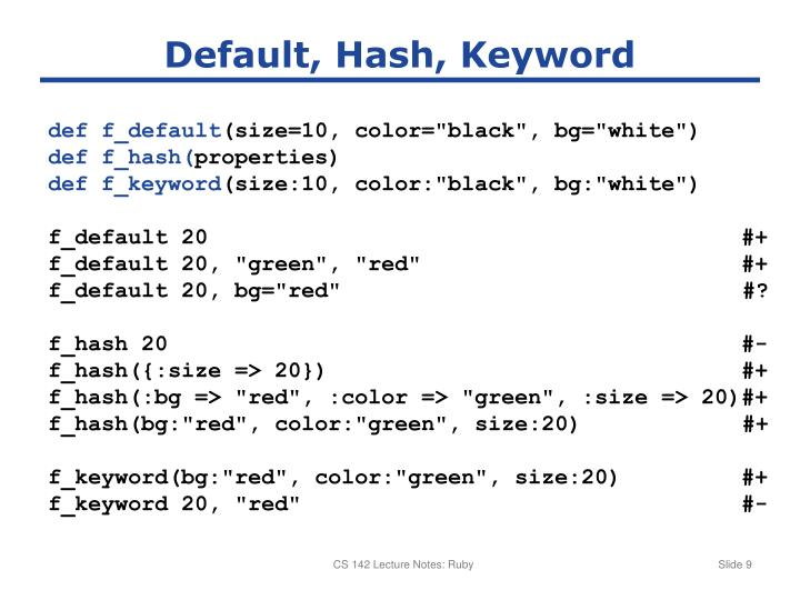 Default, Hash, Keyword