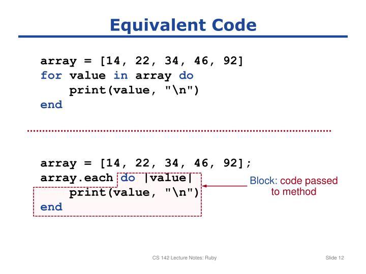 Equivalent Code