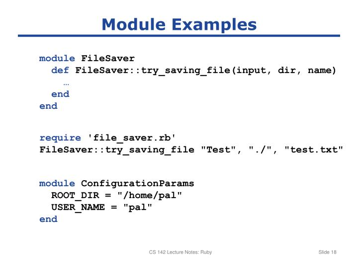 Module Examples