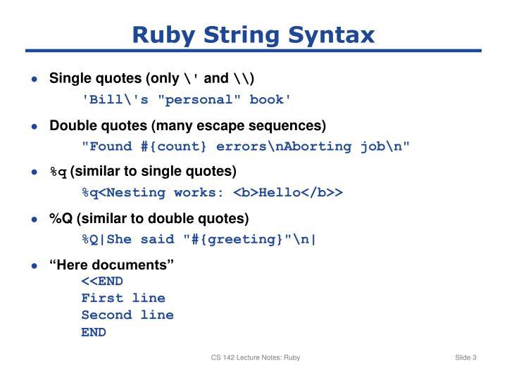 Ruby String Syntax
