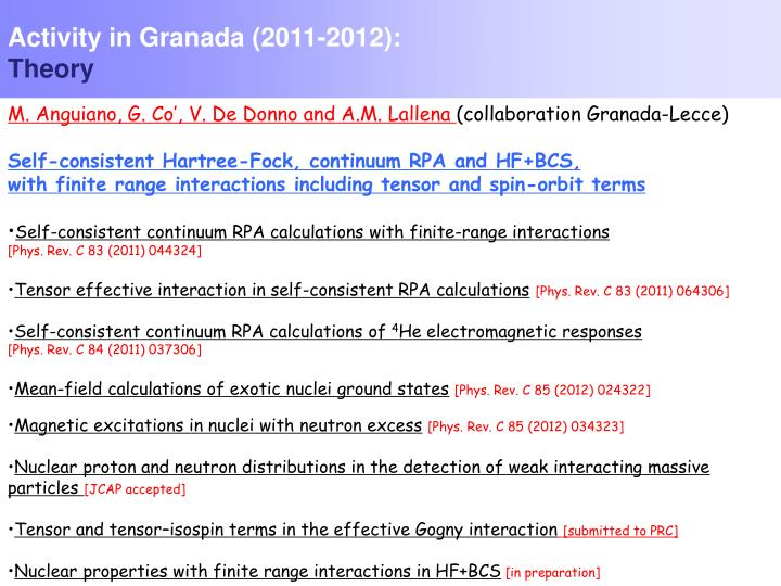 Activity in Granada (2011-2012):
