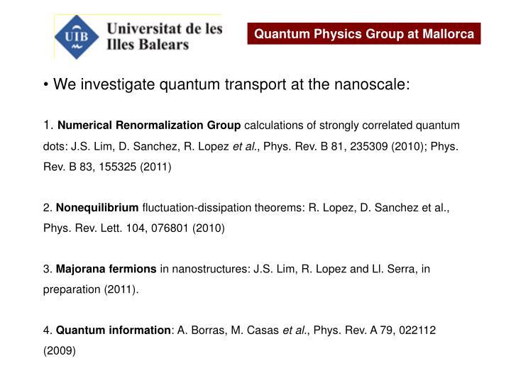Quantum Physics Group at Mallorca