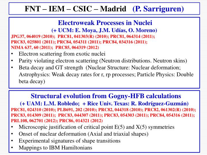 FNT – IEM – CSIC – Madrid