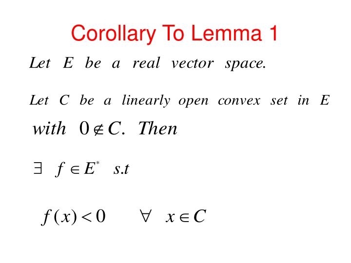 Corollary To Lemma 1