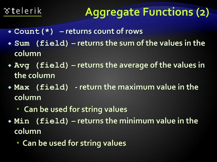Aggregate Functions (2)