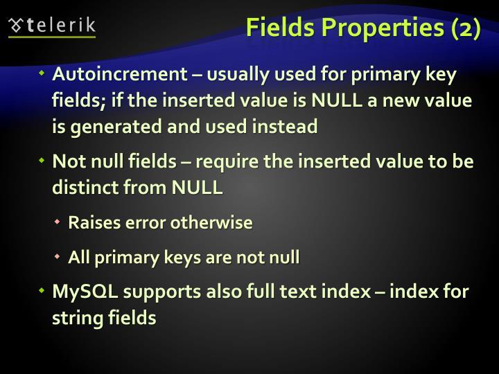 Fields Properties (2)