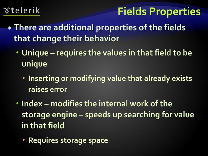 Fields Properties