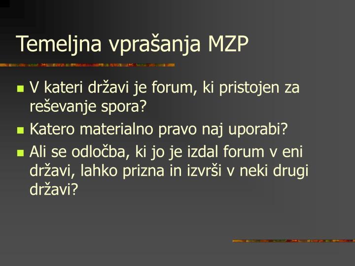 Temeljna vprašanja MZP