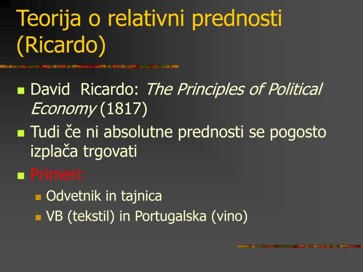Teorija o relativni prednosti (Ricardo)