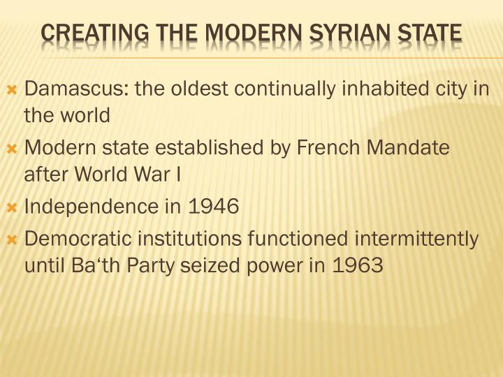 Creating the modern syrian state