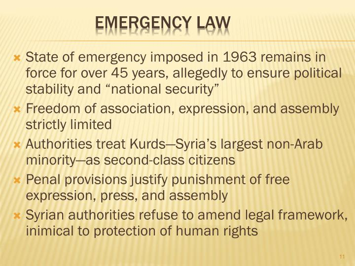 "State of emergency imposed in 1963 remains in force for over 45 years, allegedly to ensure political stability and ""national security"""