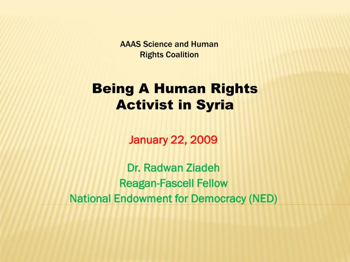 january 22 2009 dr radwan ziadeh reagan fascell fellow national endowment for democracy ned