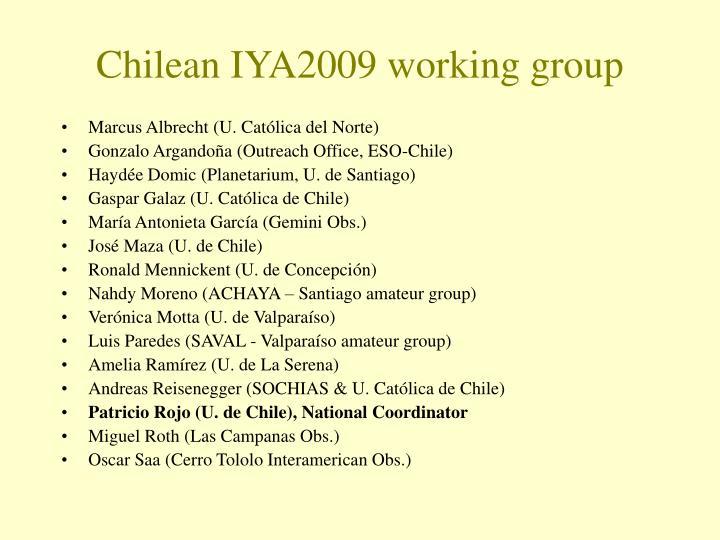 Chilean IYA2009 working group