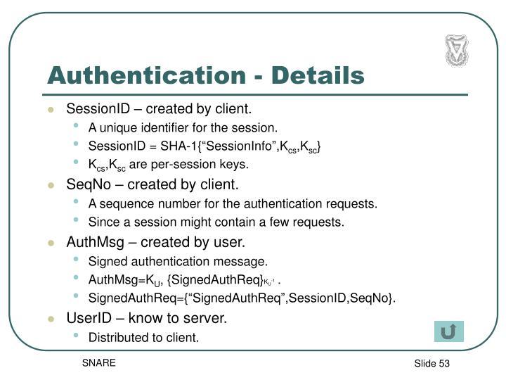 Authentication - Details