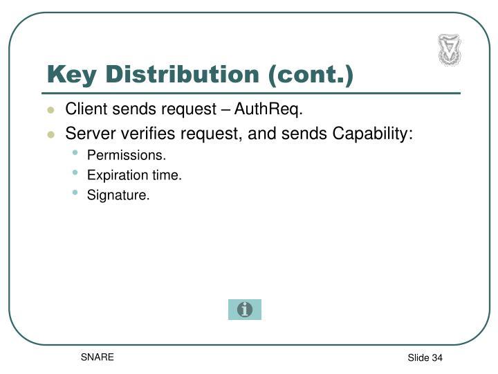 Key Distribution (cont.)