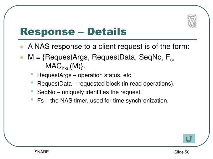 Response – Details